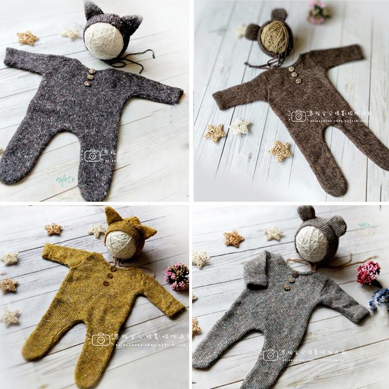 Newborn Fotografia Props Crochet Romper + Chapéu 2pcs Set Tiro do Estúdio Foto Fotografia Acessório Infantil Criança Roupa Menino