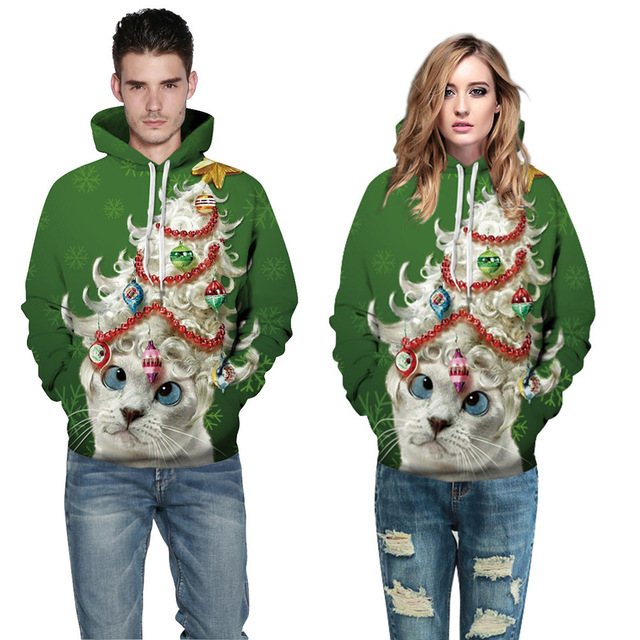 adogirl green cat printed christmas tops long sleeve autumn plus size womenmen fashion tracksuits