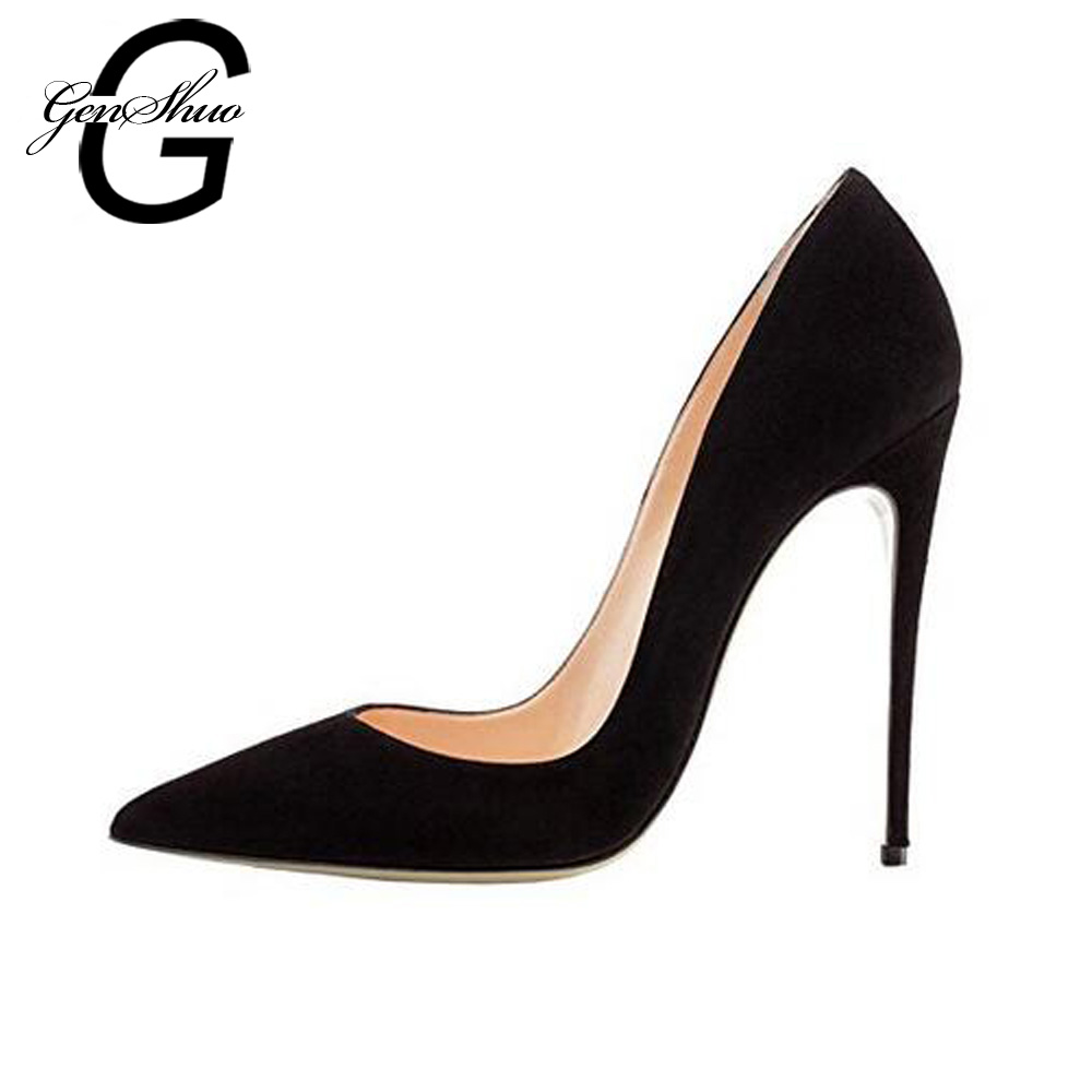 GENSHUO Sexy Pointed Toe Faux Suede High Heels Pumps Shoes 2018 Woman's Black Heels Shoes Wedding Shoes 10cm 35-42 Size goxeou 2018 shoes women 10cm pointed toe stiletto heels pumps ladies stylish high heels shoes faux suede sapato size32 46