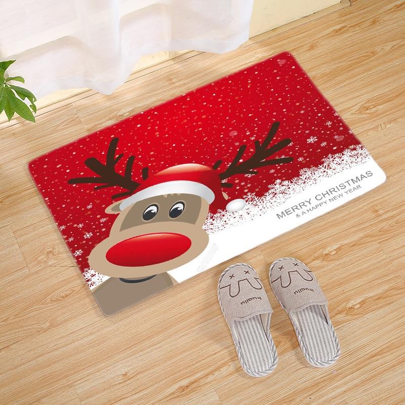 Christmas Ornaments Door Mat Santa Claus Flannel Outdoor Carpet Merry Christmas Decorations Xmas Navidad Pendant Ornaments
