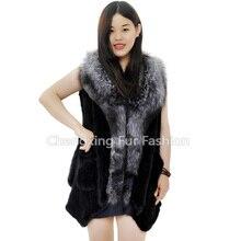 CX-G-B-263B New Design Fox Fur Trim Genuine Mink Fur Vest For Woman
