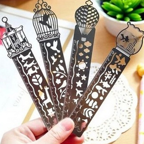 1 Pcs Kawaii Fairy Tale Creative Hollow Ultra-thin Metal Ruler Bookmark Rulers For Student Prizes School Supplies Stationery