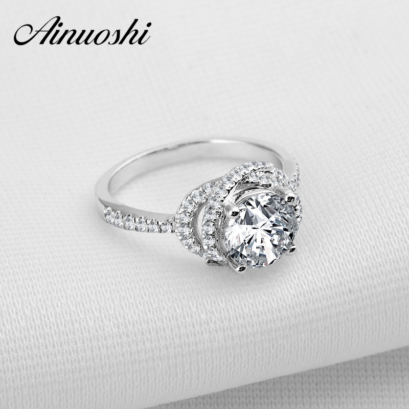 AINOUSHI Engagement Wedding Halo Rings For Women Sona nscd Synthetic Ring White Luxury Bridal Finger Rings