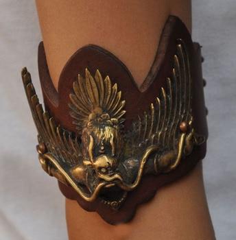 christmas Old Tibet Tantra Buddhism Bronze Leather Garuda Buddha Amulets Arms band Armlets halloween