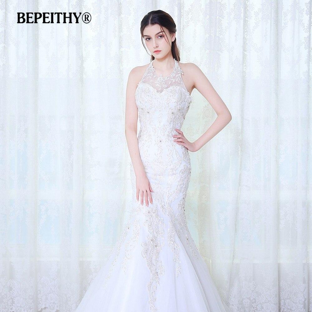 BEPEITHY Sexy Criss Cross Back Mermaid Wedding Dress 2017 Vestido De Novia Lace Beaded Bridal Dresses Robe De Mariage