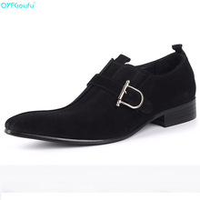 Brand 100% Genuine Leather Buckle Slip On Mens Suede Dress Shoes Business High Quality Italian Pointy