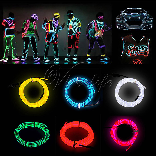 5M Flexible LED EL Wire Tube Rope Battery Powered Neon Light Shoes ...