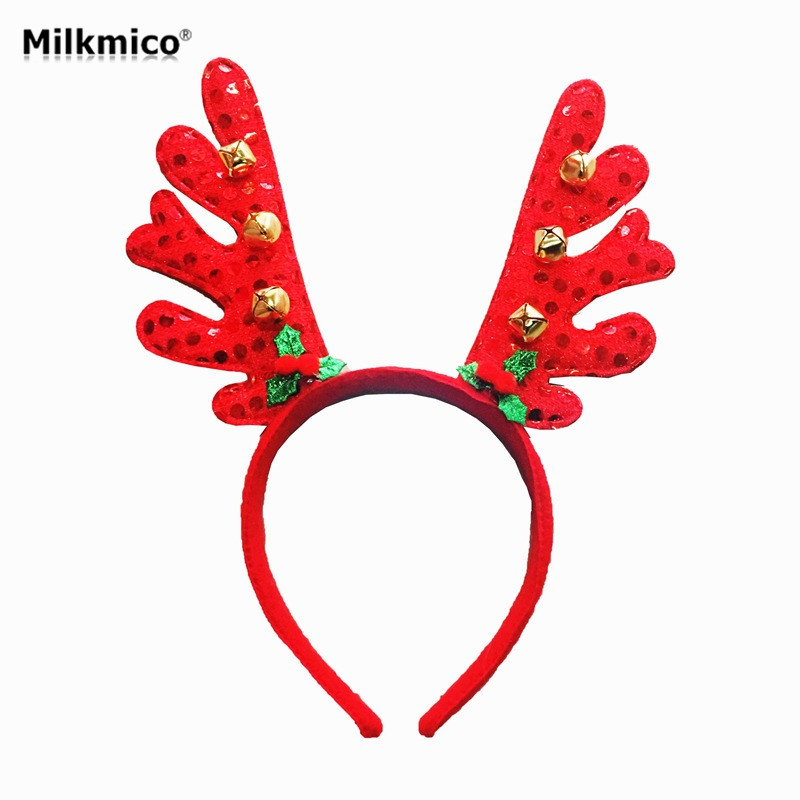 Kids Christmas Gifts Antlers Headband Christmas Party Perform Headbands Bell Hair Band For Xmas Decor Baby Shower Prop Supplies