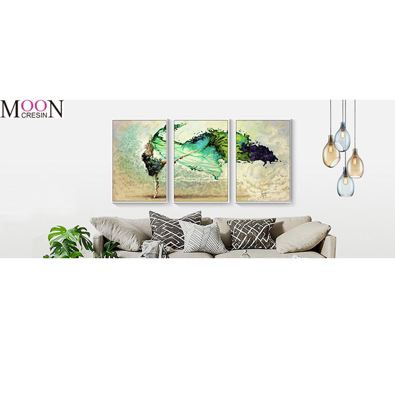 MOONCRESIN Diamond Embroidery Beautiful Triptych Dancer Diy Painting Cross Stitch Square Full Mosaic Decoration