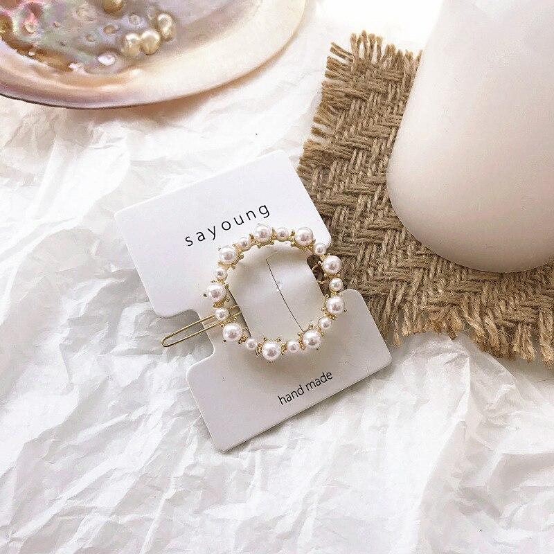 Women Crystal Elegant Pearl Hair Clip Barrette Korean Hairpin Barrette Headdress Hair Accessories Girls Hair Clip