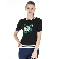 Women Floral Crop Top Short Sleeve T Shirt Women Brand New Casual Tees Summer T Shirt