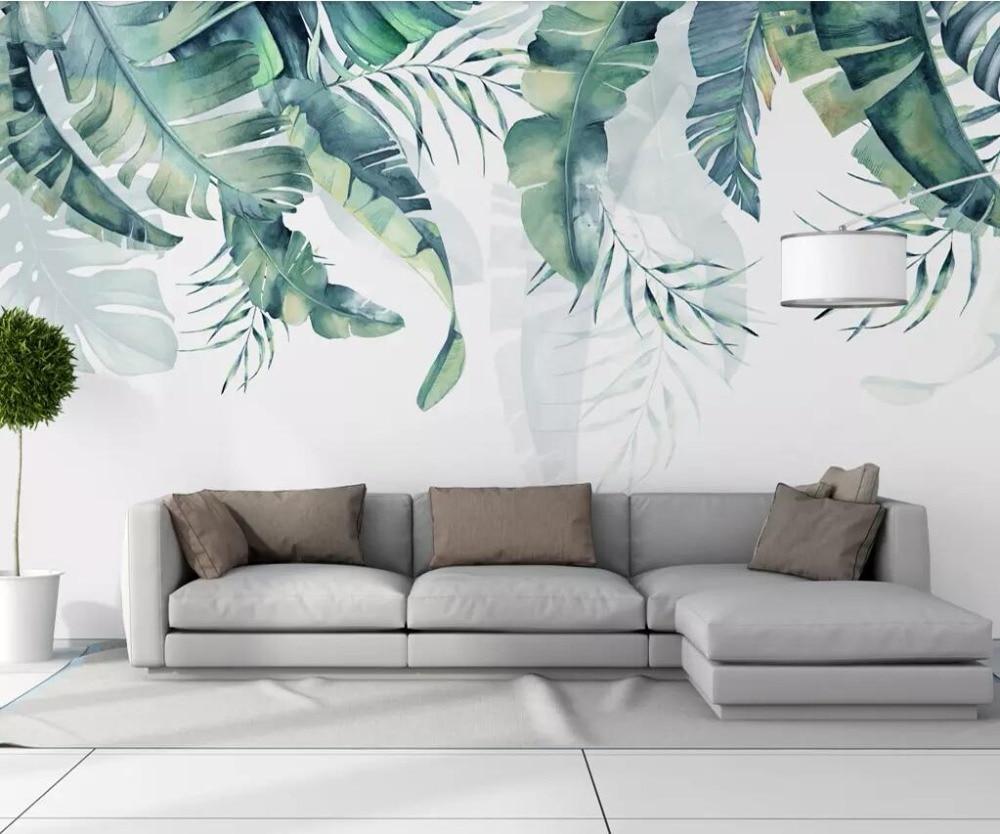 Beibehang Wallpaper Tropical Plant TV Background Wall Banana Leaf Mural Home Decoration Living Room Bedroom Murals 3d Wallpaper