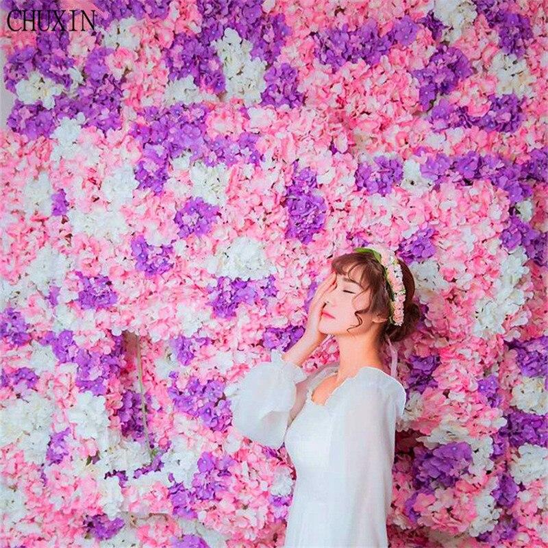 10 sztuk DIY hortensja chryzantemy orchidea płatek jedwabne kwiaty ściany do ślubu dekoracje Flores oryginalne ręcznie robione HI Q 60x40 cm w Sztuczne i zasuszone kwiaty od Dom i ogród na  Grupa 1