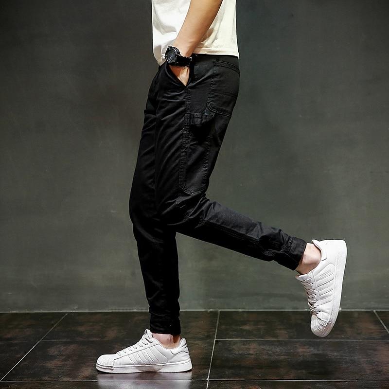 Black Color Denim Mens Jeans Jogger Pants Slim Fit Pencil Pants Boot Cut Fashion Youth Streetwear Brand Ankle Banded Jeans Men