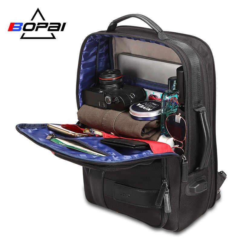 BOPAI plecak mężczyźni powiększ USB zewnętrzny ładunek plecak na laptopa 15.6 Cal o dużej pojemności Anti-theft plecak podróżny dla nastolatka