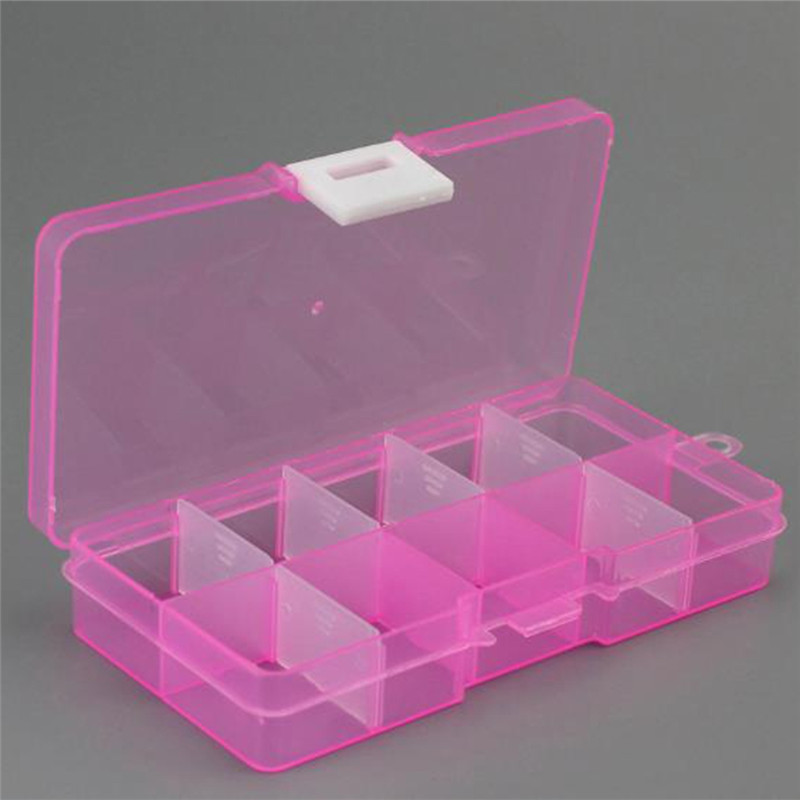 Clear Detachable 10 Slots Jewelry Storage Box Case Craft Beads/Fishing Gear Accessories Organizer Container 5 Colors