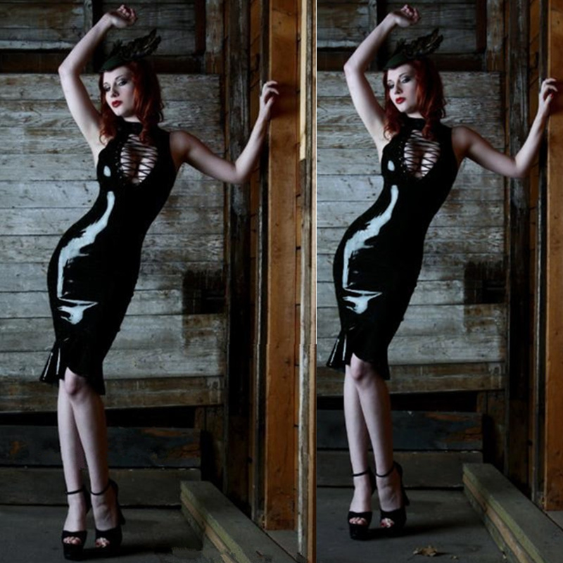 Tight Sexy Faux Leather Vinyl Wetlook Dress Black Sexy Bandage Hollow Out Clubwear Pole Dance Night Party Fishtail Dresses
