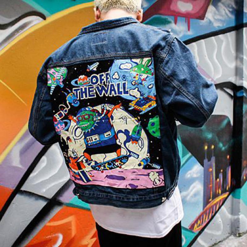 Punkool  Brand New Denim Jacket Men Japan Style Graffiti Vintage Patch Designs Denim Jackets For