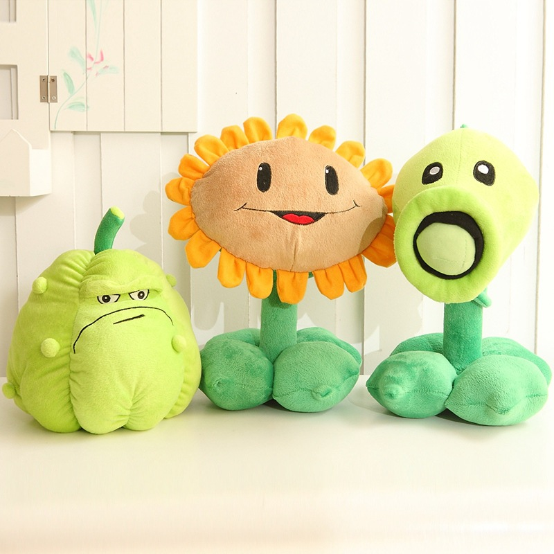 3Pcs/lot 30cm Plants vs Zombies pvz Pea Shooter Sunflower Squash Stuffed Plush Toy free shipping