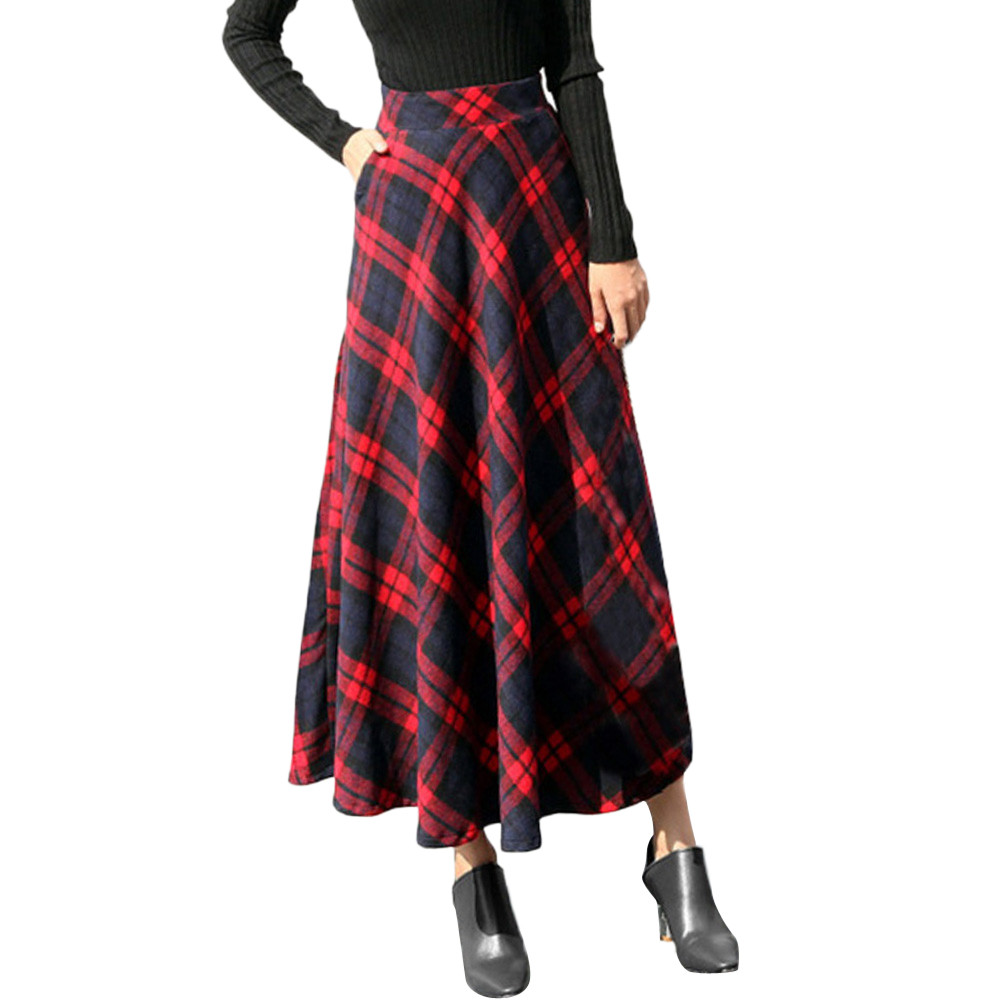 Sleeper #401 2018 NEW FASHION Womens High Elastic Waist Maxi A-line Plaid Winter Warm Flare Long Ankle Skirt Hot Free Shipping