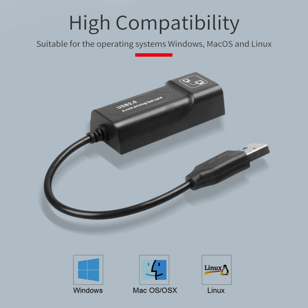 GOOJODOQ USB Ethernet Adapter USB 2.0 Network Card to RJ45 Lan for Win7/Win8/Win10 Laptop Ethernet USB 3