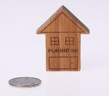 100pcs/lot wooden house shape USB Flash Drive 32GB 16GB 8GB 4GB Pen Drive USB Disk gift usb accept print logo