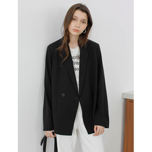 Spring 2019 New Super Red Drop Loose Leisure Small Suit Coat Double Breasted Notched Black Women Jackets and Coats Suit 2019 spring women s heavy industry love embroidery feelings ol commuter small suit coat women women jackets and coats
