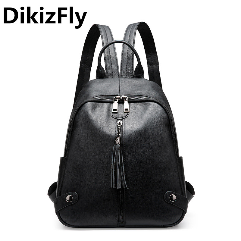 DikizFly Genuine Leather Women Backpacks Soft Leather Backpack Women Travel School Bag Teenage Girls Female Backpack sac a dos стоимость