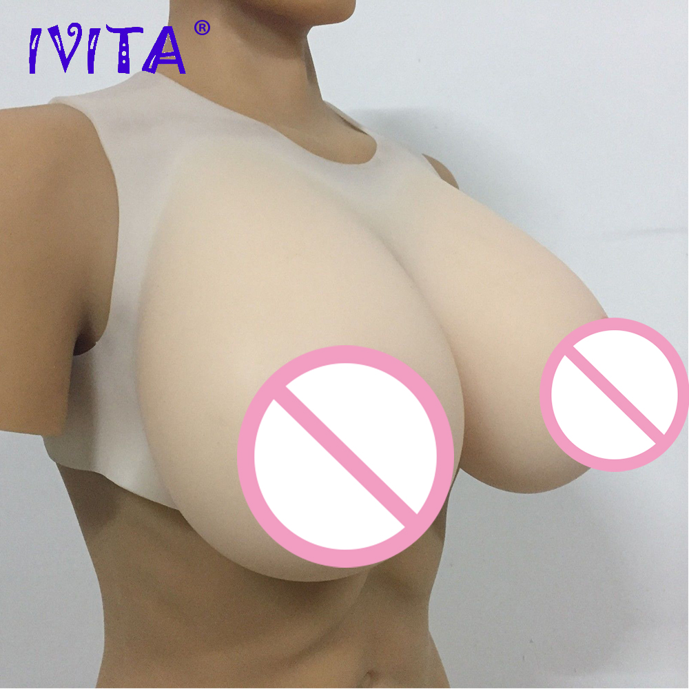 IVITA Hot Sale 6500g Realistic Silicone Breast Forms False Breast Cup L For Man Crossdresser Transgender Drag Queen Shemale Tits