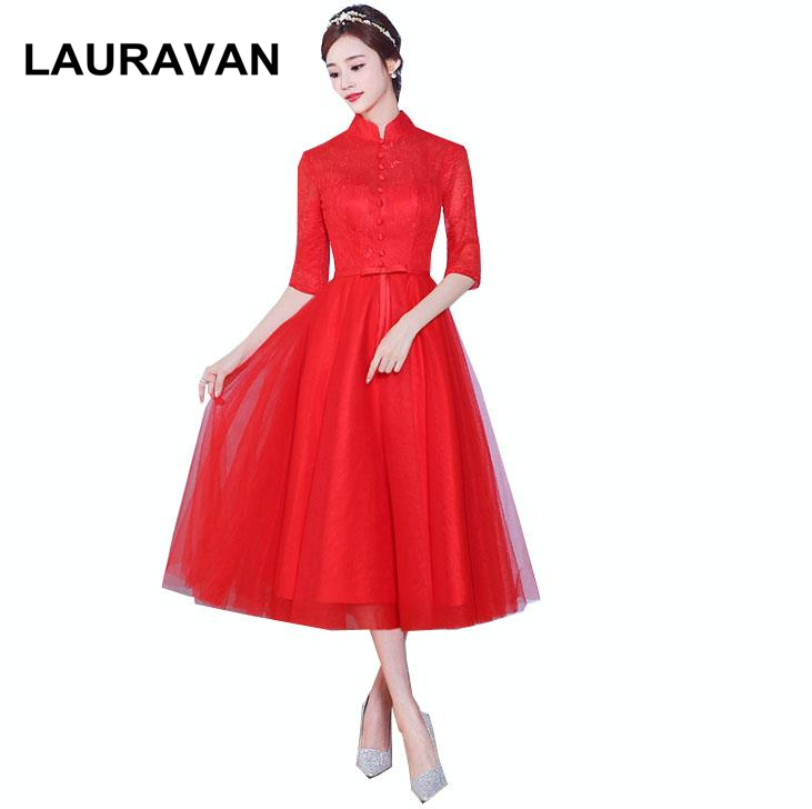 Robes De Soiree Size 2 Vintage Cheap High Neck Red Bridesmaid Short Dress Ball Gown Sweet 16 2019 Ocassion Dresses Free Shipping