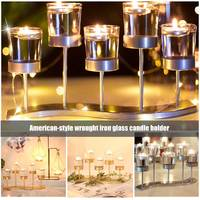 Metal Transparent Glass Candlestick Holder Wedding Table Decor HYD88
