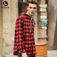 2017 Man New Fashion Brand Clothing Men Shirt Long Sleeve Trend Hooded Slim Fit Red Checkered