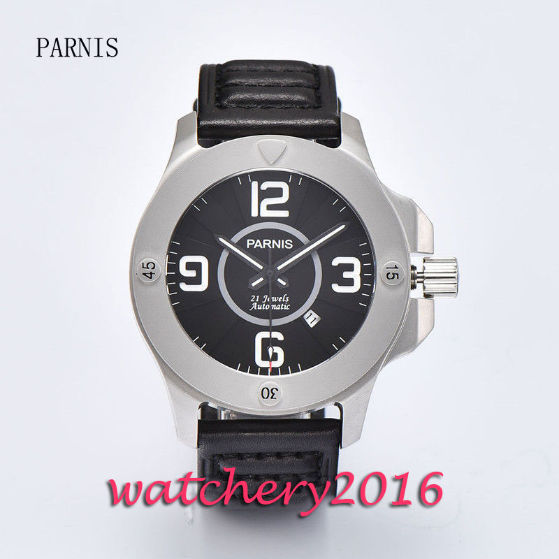 New 47mm Parnis black dial sandblast case miyota automatic business Men's watch стоимость