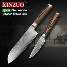 XINZUO 2 pcs kitchen knives set 73 layer Damascus kitchen knife sharp Japanese VG10 chef utility knife wood handle free shipping