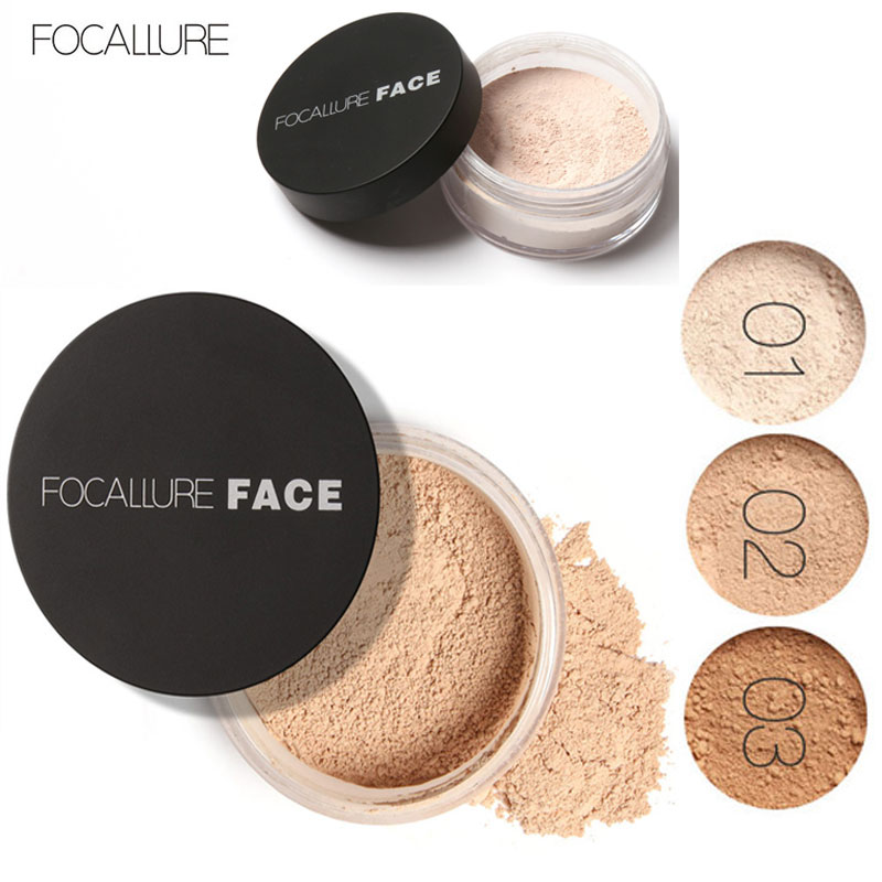Focallure Long Lasting Loose Powder Waterproof Matte Setting Powder dengan Concealer Light Makeup Powder Mineral
