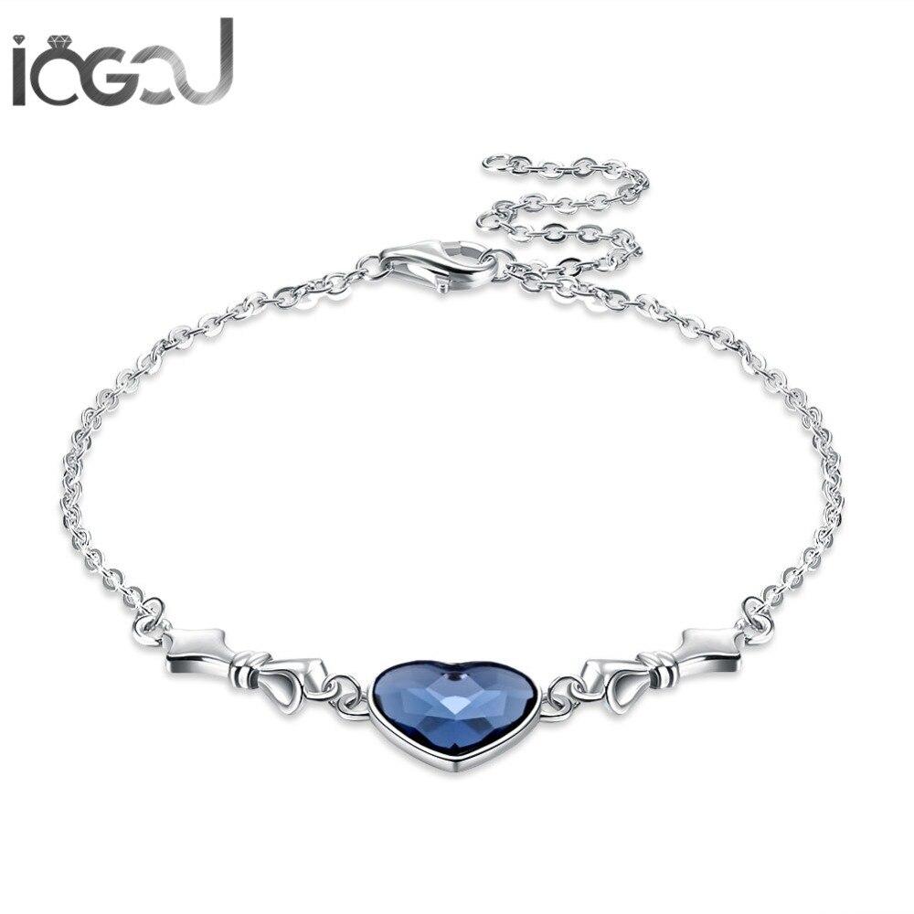 Cristaux de coeur bleu IOGOU de Swarovski 925 Bracelets en argent Sterling de fiançailles de mariage cadeaux de fille de Brithday livraison directe