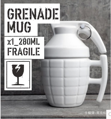Official 2016hot sale Free Shipping Pineapple Hand Grenade Designed Ceramic Mug Cup Novelty Grenade Tea Cup for birthday gift 3
