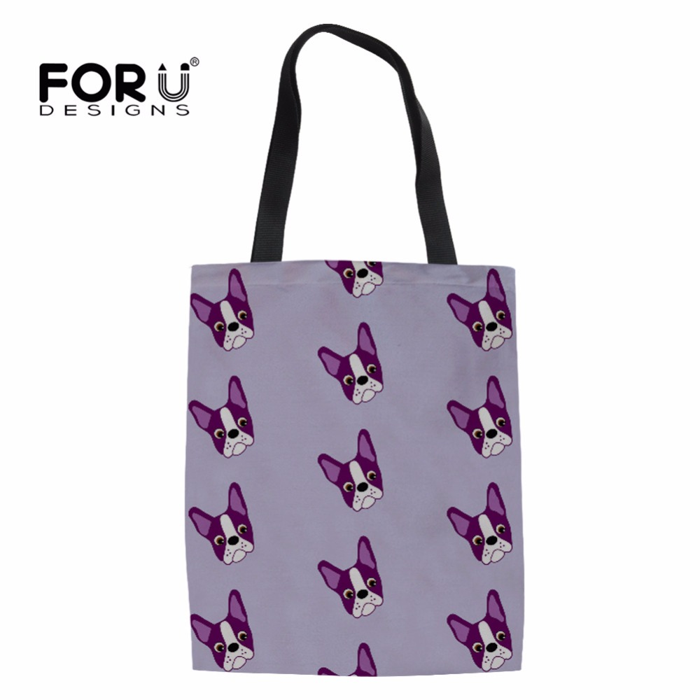FORUDESIGNS 2018 Funny Boston Terrier Casual Canvas Shopping Bags For Women Large Reusable Folding Travel Organize Gift Bags