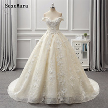 SexeMara Ball Gown Beige Wedding Dresses 3D Flowers Puffy