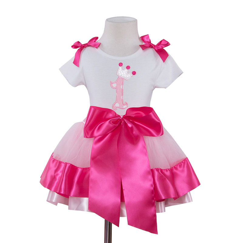 Newborn Baby Girl Clothing Set My Little Girl 1st 2nd Birthday Outfits Baby Tshirt+Bow Skirt Children Party Costume Kids Clothes bling my 1st camo dress tree little princess white shirt camouflage bow petal skirt nb 8y