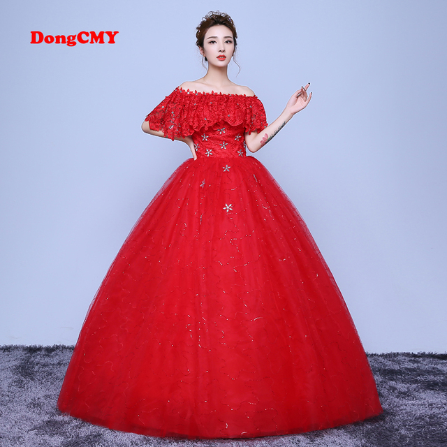 DongCMY 2018 new arrival long red color Ball Lace up A word shoulder ...