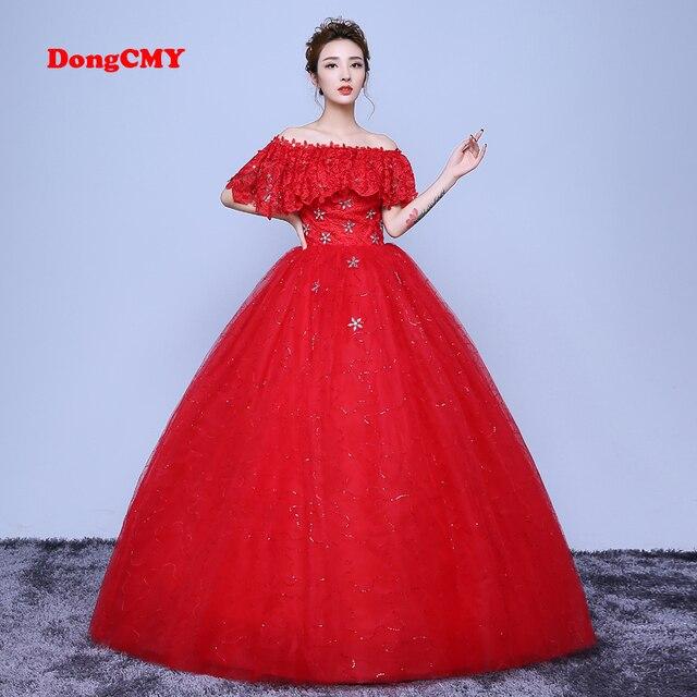 DongCMY 2019 new arrival long red color Ball Lace-up A word shoulder  wedding dresses vestido de noiva Bridal Gown af60d8bc4818