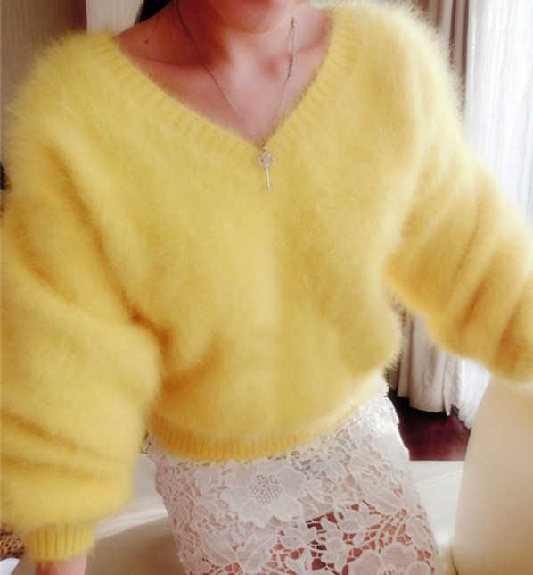 섹시한 V 넥 100% 부드러운 자연 밍크 캐시미어 스웨터 사용자 정의 색상 큰 크기 공장 풀오버 wsr294