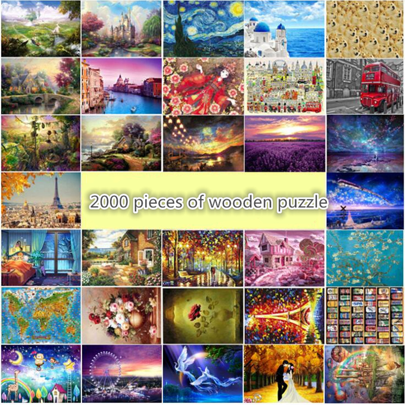 Wooden Jigsaw Puzzle 2000 Pieces World Famous Painting Puzzles For Adults Landscape Puzzle Educational Children Home Decoration