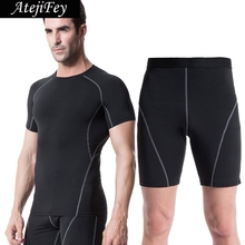 AtejiFey 2018 Fitness Training Sportswear Tracksuits Sport Suits Gym Running Soccer Men Quick Dry Compression Basketball Mens