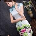 2016 Summer Cheongsam Chinese Traditional Dress Women Elegant Dress Silk Slim Short Qipao Abendkleider Evening Cheongsam