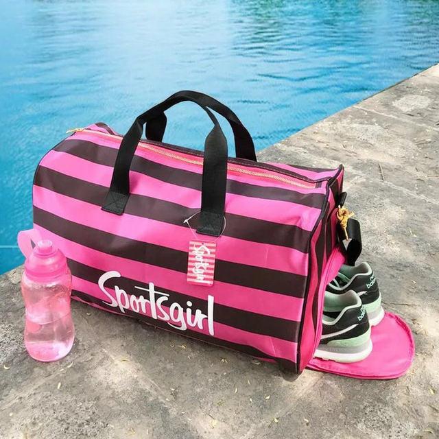 colorful lovely pink Women Sport Bag Girl Fitness Waterproof Bag Training Gym  Bag raining Yoga Duffel 6c35c3ab0068b