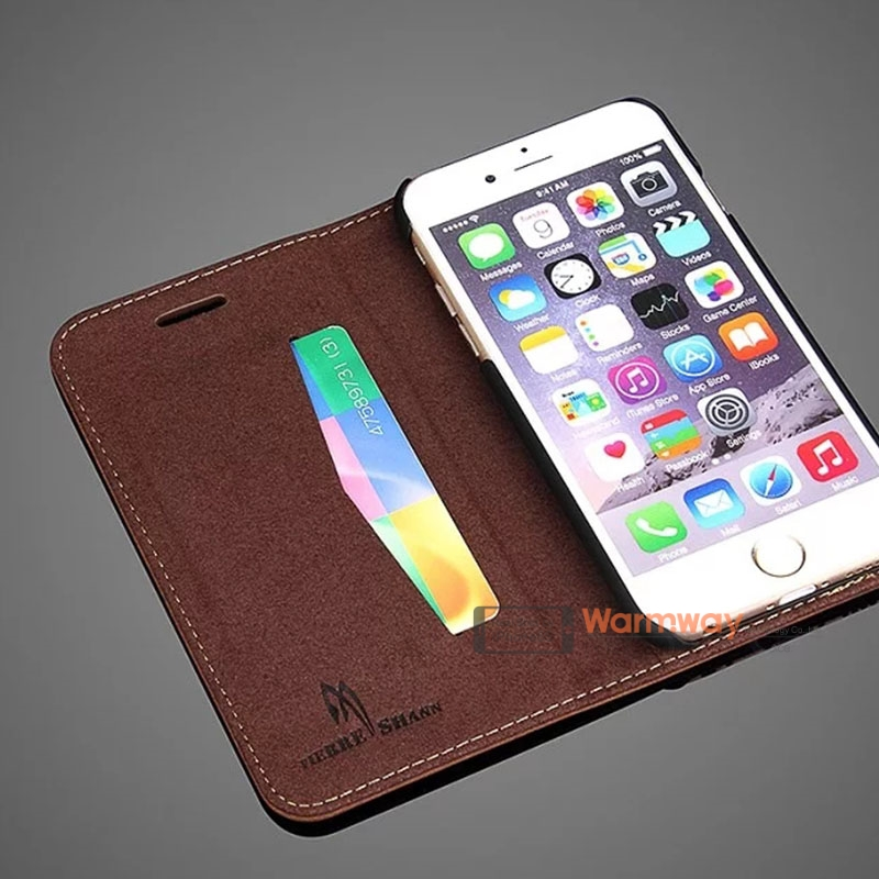 Warmway Genuine Leather Wallet Case for iPhone 6S and 6S Pluse Luxury Leather Cover Shockproof Stylish