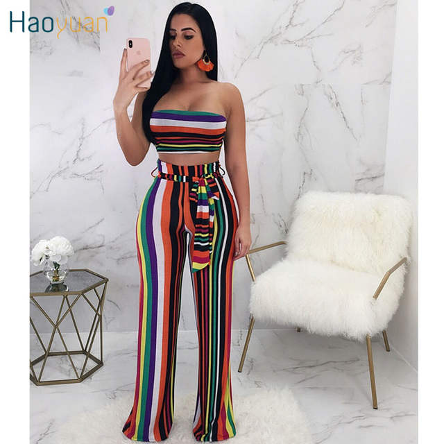 84388a07598 Online Shop HAOYUAN Sexy Two Piece Set Women 2018 Summer Striped Strapless  Crop Top and Wide Leg Pants Suit Club Wear Party 2 Piece Outfits