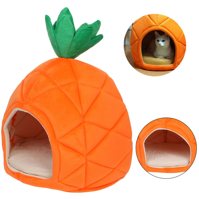 Luxury Deluxe Pineapple Pet House Dog Cat Puppy Warm Cave Nest Cozy Sleeping Beds